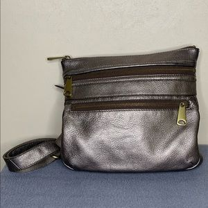 Fossil Metallic Triple Zip Crossbody Purse
